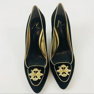 J Vincent black suede heels with gold medallion